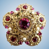 Vintage Miriam Haskell Gold Tone Filigree and Ruby Red Rhinestone Brooch