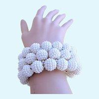Vintage Miriam Haskell Plastic Popcorn Bead Memory Wire Bracelet