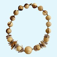 Vintage Miriam Haskell Wood and Shell Bead Necklace