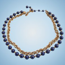 Vintage Signed Miriam Haskell Blue Bead and Chain Choker Necklace