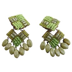 Vintage Miriam Haskell Lime Green Seed Bead Dangle Clip Earrings