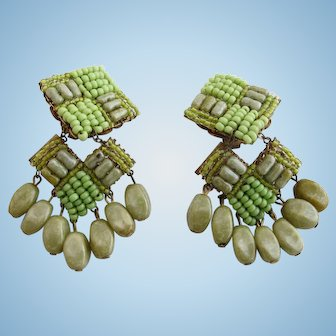 Vintage Miriam Haskell Lime Green Seed Bead Dangle Clip Earrings