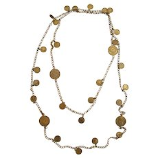 Vintage Miriam Haskell Brassy Coin Necklace - Opera Length