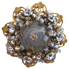 Vintage Miriam Haskell Blue Rhinestone and Art Glass Flower Brooch