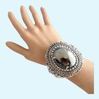 Vintage Whiting & Davis Silver Tone Glass Hematite Hinged Clamper Bracelet