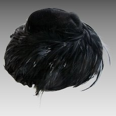 Vintage Suzy Lee of California Black Feather Hat