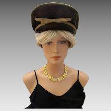 Vintage Schiaparelli Cossack Style Brown & Gold Brushed Felt Hat