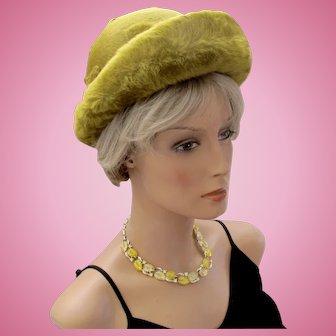 Vintage Schiaparelli Olive Brushed Felt Wide Brim Hat