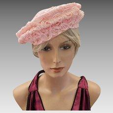 Vintage Joyce of California Pink Swirled Ribbon Beret Style Hat