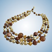 Vintage Hattie Carnegie Italian Art Glass Gold and Bronze Bead Necklace