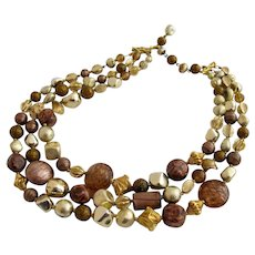 Vintage Hattie Carnegie Italian Art Glass Gold and Bronze Bead Necklace