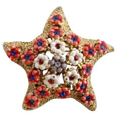 Vintage Hattie Carnegie Enamel Flowers Starfish Pin