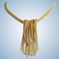 Vintage Hattie Carnegie Gold Tone Mesh Waterfall Choker Necklace