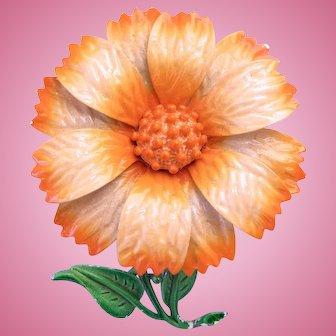 Vintage Hedy Peach Enamel Flower Pin
