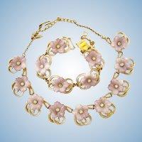 Vintage Hobe Lavender Flower Necklace and Bracelet Parure