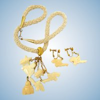 Vintage Hobe Faux Ivory Asian Theme Dangle Necklace and Earring Set - In Original Box
