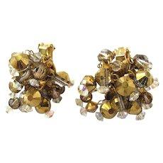 Vintage Hobe Gold and Crystal Bead Dangle Earrings