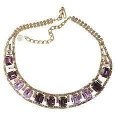 Hobe Purple and Lavender Rhinestone Choker Necklace