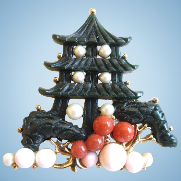 Hobe Oriental Faux Jade And Faux Coral Pagoda Pin Pendant New Faux Coral Decorative Accessories