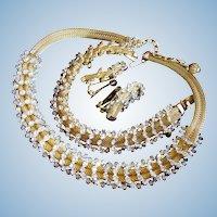 Hobe Gold Mesh & Rhinestone Parure