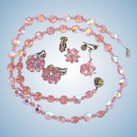 Vintage Pink Crystal Necklace with Hobe Crystal Earrings