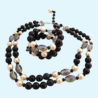 Vintage Hobe Black Bead and Faux Pearl Necklace and Bracelet Set