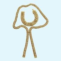 Vintage Hobe Lariat Style Rhinestone Necklace and Bracelet Demi Parure Set