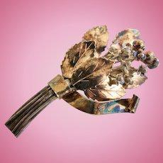 Vintage Hobe Sterling Silver Gold Vermeil Flower Bouquet