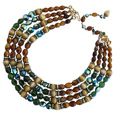 Vintage Hobe Four Strand Brown and Green Bead Necklace