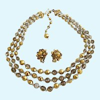 Vintage Hobe Three Strand Clear and Gold Color Coated Bead Necklace and Clip Earring Set