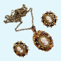 Vintage Hobe Ornate Cameo Pendant Locket and clip Earring Set - Book Piece