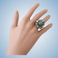 Vintage Hollycraft 1950 Green Foil Glass Adjustable Ring