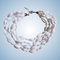 Vintage Miriam Haskell Milk Glass Five Strand Necklace