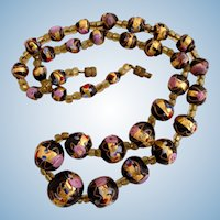 Vintage Italian Glass Black Wedding Cake Bead Necklace