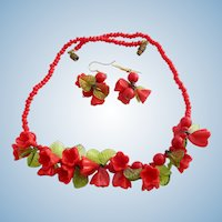 Vintage Italian Red Glass Flower and Green Leaf Necklace