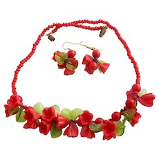 Vintage Italian Red Glass Flower and Green Leaf Necklace and Pierced Earrings Set