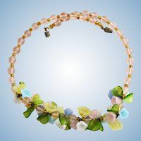 Vintage Italian Glass Pastel Flower and Leaf Necklace