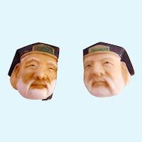 Vintage Toshikane Style Porcelain God Clip Earrings