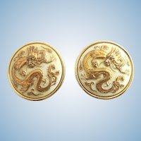 Vintage Toshikane Japan Dragon Clip Earrings