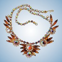 Vintage Delizza and Elster (aka: Juliana) Dazzling Topaz Rhinestone Necklace