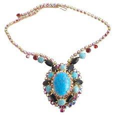 Vintage DeLizza & Elster (D & E, Juliana) Blue Turquoise Matrix Necklace - Book Piece