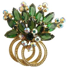Vintage Delizza and Elster (AKA: Juliana, D & E) Green Rhinestone Brooch - Book Piece