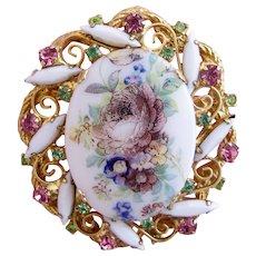 Vintage DeLizza & Elster (D & E, Juliana) Flower Transfer Brooch - Book Piece