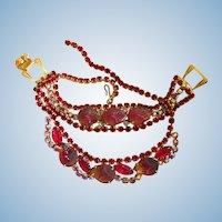 Vintage Red Molded Glass Fruit / Acorn Necklace and Bracelet Set