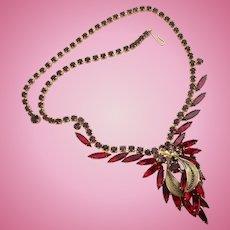Vintage DeLizza & Elster (D & E, Juliana) Red Navette Rhinestone Necklace