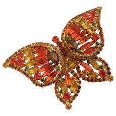 Vintage DeLizza & Elster (D & E, Juliana) Huge Orange Butterfly Brooch