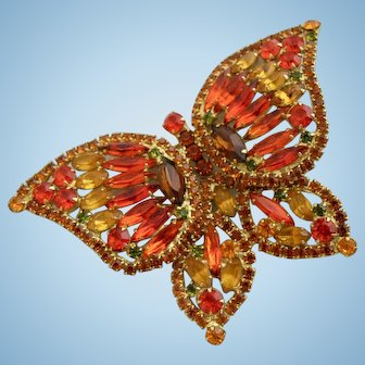 Vintage DeLizza & Elster (D & E, Juliana) Huge Orange Butterfly Brooch