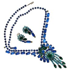 Vintage DeLizza & Elster (D & E, Juliana) Blue & Green Rhinestone Dangles Necklace and Earring Set - Book Piece