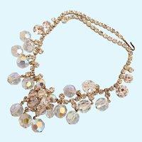 Vintage DeLizza & Elster (D & E, Juliana) Aurora Borealis Dangle Necklace - Book Piece