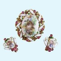 DeLizza & Elster (AKA:  Juliana) Flower Transfer Brooch and Clip Earrings Set - Book Piece